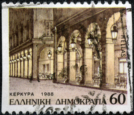 CHONGQING, CHINA - May 11, 2014:A stamp printed in Greece with image of ancient architectural in Corfu (Kepkypa), a Greek island in the Ionian Sea.CIRCA 1988 Editorial