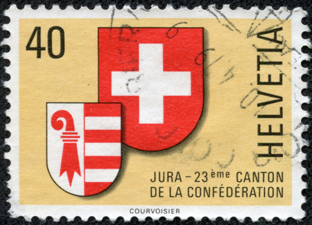 A post stamp printed in SWITZERLAND shows coat of arms of Jura canton, circa 1978