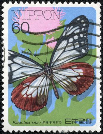 5 月 11 日、中国・重慶 2014:A 切手日本の印刷は、シリーズの「の昆虫」、1986 年頃 parantica シタ蝶を示しています。