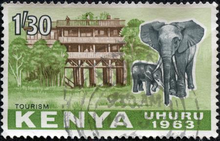 重慶, 中国 - 5 月 11 日、ケニアでは、2014:A スタンプ印刷を示していますアフリカ象 (アフリカゾウ) 1963 年頃、ホテルの前で