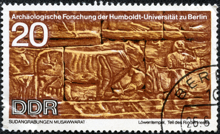 CHONGQING, CHINA - May 21, 2014:A stamp printed in GDR shows Sudanese Archaeological Excavations by Humboldt University Expedition, circa 1970