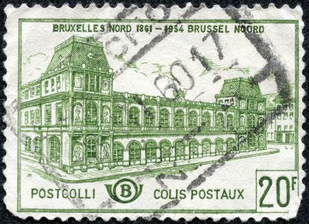 CHONGQING, CHINA - May 11, 2014:stamp printed by Belgium, shows Old North Station Brussels, circa 1959