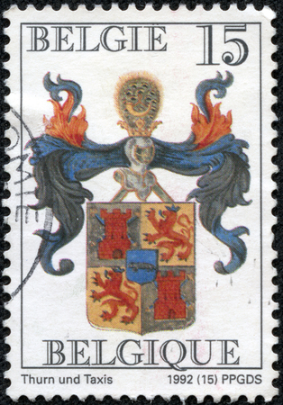 CHONGQING, CHINA - May 11, 2014: stamp printed by Belgium, shows Arms of Thurn and Taxis, circa 1992 Editorial