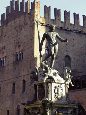 Neptune Fountain and king Enzos Palace, Bologna, Italy Stock Photo