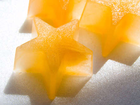 Star shaped ice cubes Stock Photo
