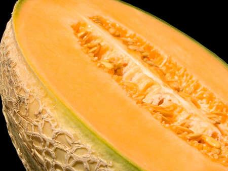 half cut: Close-up of a half cut melon Stock Photo