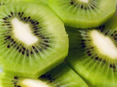Close-up of fresh cut sliced kiwi fruit