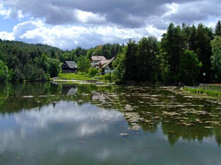 Cloudy day at Costalovara Lake 版權商用圖片