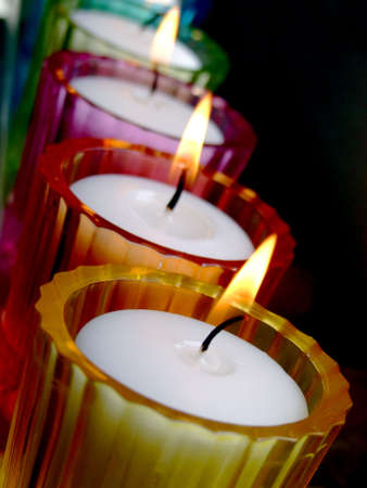 Colored glass potted candles