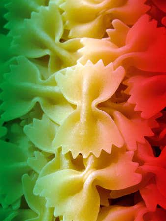 Close-up of italian raw farfalle pasta
