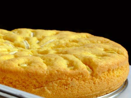 Close-up of a fresh homemade apple cake