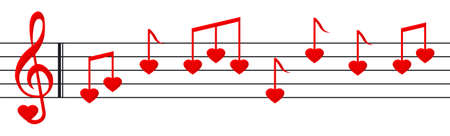 Music paper with heart shaped notes and clef Stock Photo