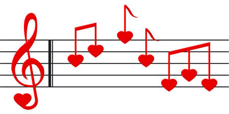 heart shaped: Music paper with heart shaped notes and clef Stock Photo