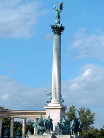 The 40 metres high column and the equestrian statues of the Millennium Monument in Heroes Square, Budapest