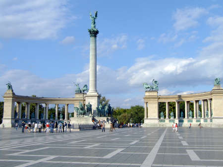 The Millennium Monument in Heroes Square, Budapest Stock Photo
