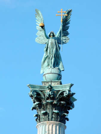Detail of the Archangel Gabriel statue on top of the 40 metres high column in Heroes Square, Budapest photo