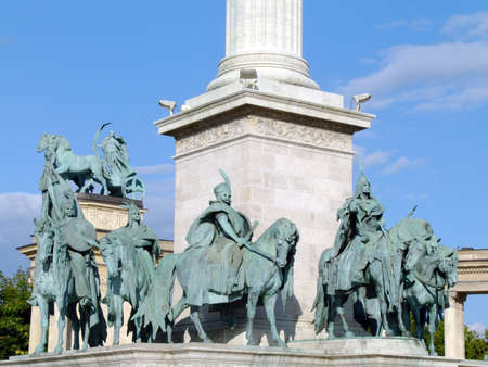 chieftain: Equestian statues of seven Hungarian tribe chieftains at the base of the column in Heroes Square, Budapest Stock Photo