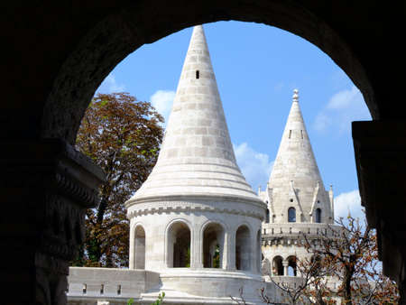 schulek: Fishermen Bastion is a terrace in neo-Gothic and neo-Romanesque style situated on the Buda bank of the Danube, on the Castle hill in Budapest, around Matthias Church. It was designed and built between 1895 and 1902 on the plans of Frigyes Schulek. Its sev