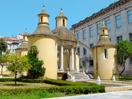 Coimbra, Manga Garden, founded in the 16th century, it was originally part of the Holy Cross Monastery. This original composition of elements was created by Renaissance artist Jean de Rouen.
