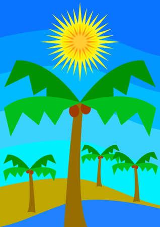 desert oasis: Desert oasis with palms under the sun