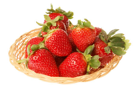 Close-up of some fresh strawberries in a basket isolated on white
