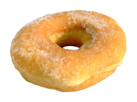 caster: Close-up of a donut with caster sugar isolated on white