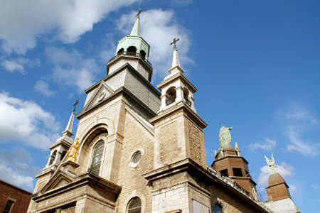 Upper detail and side view of Notre Dame de Bonsecours Chapel in Montreal Stock Photo
