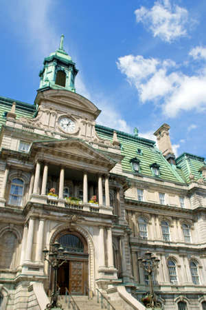 The old Montreal city hall (hotel de ville) on a cloudy day, main entrance detail. Stock Photo - 3547597