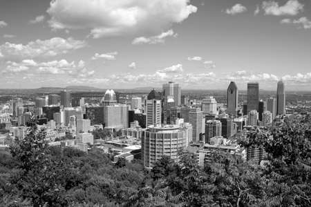 A black and white panorama of Montreal from Mont Royal