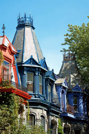 montreal: Colorful victorian houses in Montreal Stock Photo