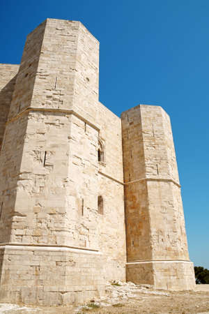 Detail of Castel del Monte (Castle of the Mount), situated on a solitary hill in the southeast italian region of Apulia, near Andria in the province of Bari. It was built in the 13th century during the reign of the Holy Roman Emperor Frederick II. The cas Stock Photo