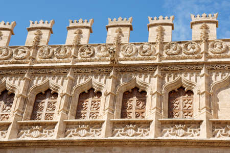 Detail of the Lonja de la Seda of Valencia in Spain. This small complex of late gothic buildings, originally was used to trade silk.  Stock Photo