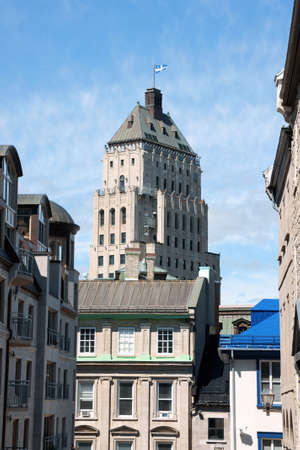 Glimpse of old Quebec City historical center and Price Building Stock Photo