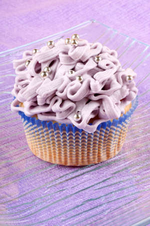 Fancy light purple cupcake decorated photo