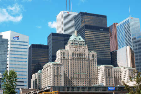 Toronto, Canada - August 01, 2008 - Downtown with Fairmont Royal York hotel and financial buildings.