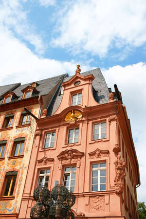 mainz: Historical houses in downtown Mainz in Germany on a cloudy day. Stock Photo