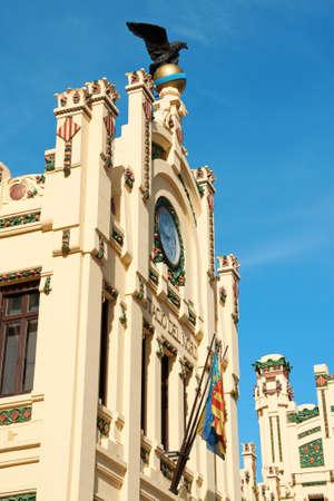 Detail of the facade of Estacion del Nord or north train station in Valencia, Spain. photo