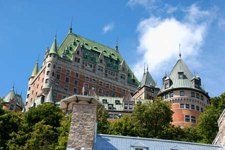 Chateau Frontenac in Quebec City on a cloudy day. View from the lower old city.