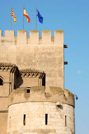 Detail of the Aljaferia Palace in Zaragoza, Spain. It was built during the second half of 11th century as a fortified palace for the Islamic dynasties of the Moorish Taifa of Zaragoza. After the Reconquista it became the palace for Catholic kings and a be