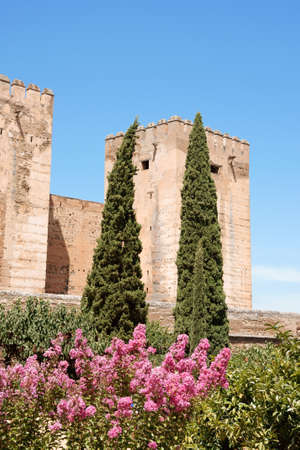 Detail of the Alcazaba a moorish fortification in the Alhambra of Granada, Spain.