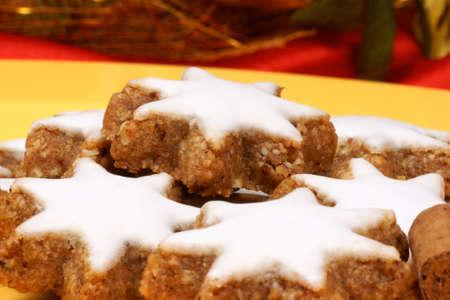 german swiss: Cinnamon star cookies (in german Zimtsterne) are typical german and swiss Christmas cookies. Stock Photo