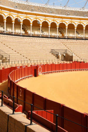 plaza de toros: Plaza de toros de la Real Maestranza de Caballeria de Sevilla or simply Plaza de Toros of Seville is the oldest bullring in Spain. It was built in stone and wood beetween 1749 and 1881. In this place, every year takes place the famous Feria de Abril.