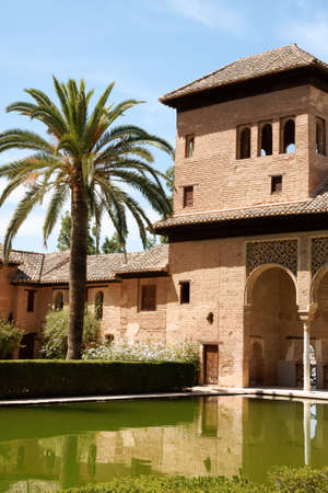 Ladies Tower  Torre de las Damas  and Gardens of the Partal at the Alhambra in Granada.