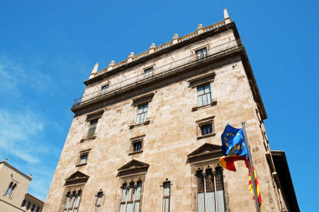 generalitat: Palau de la Generalitat, a 15th century gothic palace, currently used as the seat of the regional government. Stock Photo