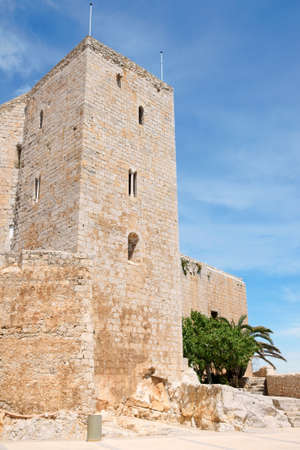 View of Pope Lunas Palace in Peniscola, Valencia Province, Spain. In this castle lived the last Pope after the western schism from Rome, Benedict XIII or Pope Luna.