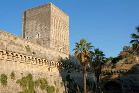norman castle: The Norman-Swabian castle of Bari was built by the Normans in the XII century and restored by Frederick II of Swabia, between 1233 and 1240  The medieval castle is located in the central area of the chief town of Apulia in Italy  Editorial