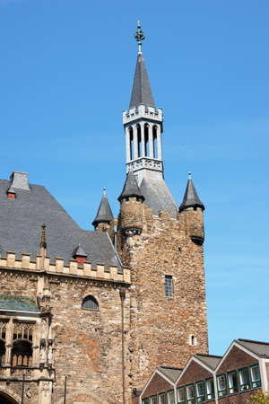 rhine westphalia: Aachen Town Hall, in gothic style, was built by citizens on the ruins of Charlemagne