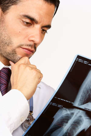 Doctor examining chest x-rays  With copy space  photo