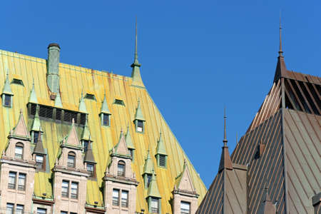 Detail of the roof of Chateau Frontenac in the old Quebec City