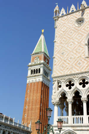 ducale: Detail of Palazzo Ducale And Saint Mark Belltower in Venice
